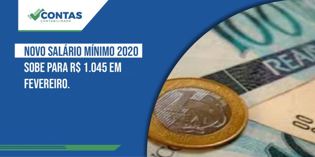 Novo Salário mínimo 2020 sobe para R$ 1.045 em Fevereiro.